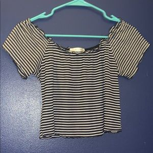 navy and white striped crop top size L